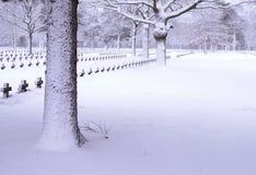 Friedhof im Schnee Stockbilder