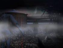 Friedhof mit Geistern für Halloween lizenzfreie abbildung