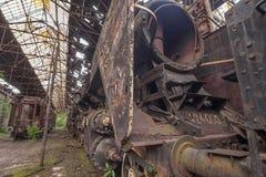 Friedhof von verlassenen Zügen Lizenzfreies Stockfoto