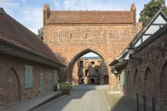 Friedlaender Tor gate in Neubrandenburg, Germany. The historic Friedlaender Tor gate in the town of Neubrandenburg, Germany royalty free stock photography