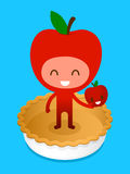 Friedly Cartoon Character Holding Apple On Pie Royalty Free Stock Image