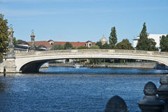 Friedrich bridge, Berlin, Germany. The Friedrich bridge is located in the Mitte district of Berlin and spans the River Spree in the course of Bodestraße. The Royalty Free Stock Photography