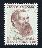 Friedrich Engels. CZECHOSLOVAKIA - CIRCA 1980: stamp printed by Czechoslovakia, shows Friedrich Engels, circa 1980 Stock Images