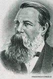 Friedrich Engels portrait from old German money Stock Photo