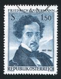 Friedrich Gauermann printed by Belgium. AUSTRIA - CIRCA 1962: stamp printed by Austria, shows Friedrich Gauermann, circa 1962 Stock Images