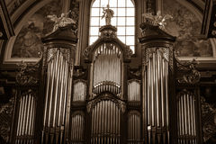 Friedrich Ladegast Organs - baroque parish and collegiate church. POLAND, POZNAN - 27 DEC 2014: Friedrich Ladegast Organs - baroque parish and collegiate church Royalty Free Stock Images