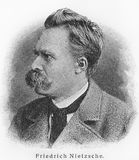 Friedrich Nietzsche. (1844 - 1900) was a 19th-century German philosopher, poet, composer and classical philologist. Sketch from an 100 years old encyclopedia