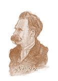 Friedrich Nietzsche Engraving Style Sketch Portrait Royalty Free Stock Photography
