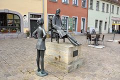 Friedrich Nietzsche memorial on the Markt square in Naumburg Stock Images