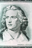 Friedrich Schiller portrait from old German money. Ten Mark Royalty Free Stock Photos