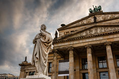 Friedrich Schiller Sculpture and Concert Hall on Gendarmenmarkt Stock Photos