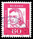 Friedrich von Schiller (1759-1805), poet, Famous Germans serie, circa 1962. MOSCOW, RUSSIA - FEBRUARY 20, 2019: A stamp printed in Germany, Federal Republic stock images