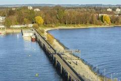 Friedrichshafen pier on Bodensee lake stock photo