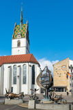 Friedrichshafen, Germany. February 17, 2014: St. Nikolaus Church and City Hall in Friedrichshafen stock photo