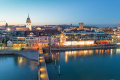 Friedrichshafen - hamn på natten Royaltyfri Fotografi