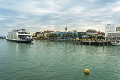Friedrichshafen harbor on BodenSee lake, Baden-Wurttemberg, Germany stock photos