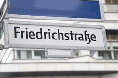 Friedrichstrafze Street Sign, Berlin Stock Image