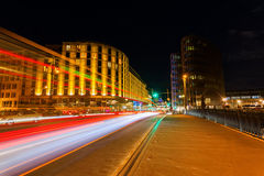 Friedrichstrasse in Berlin, Germany, at night Royalty Free Stock Photo