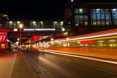 Friedrichstrasse in Berlin, Germany, at night Royalty Free Stock Image