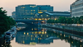 Friedrichstrasse Station in Berlin at dawn stock footage
