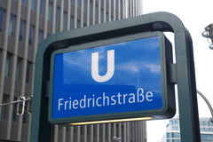 Friedrichstrasse - subway sign Stock Photos