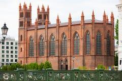 Friedrichswerder教会,接近柏林市中心,德国的老红砖教会 图库摄影