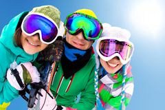 Frieds on ski resort Royalty Free Stock Images