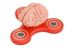 Friemel spinner met menselijke hersenen, het 3D teruggeven Stock Foto's