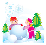 Friend. S - a girl and a boy are doing a snowman Stock Image