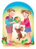 Friend. Girl-friends and their true the doggie play with a ball Royalty Free Stock Photography
