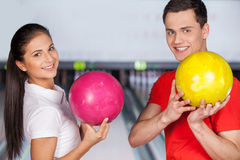 Friend in bowling. Stock Photos