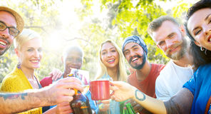 Friend Celebrate Party Picnic Joyful Lifestyle Drinking Concept Stock Photos