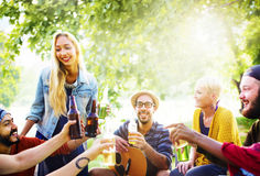 Friend Celebrate Party Picnic Joyful Lifestyle Drinking Concept Royalty Free Stock Photo