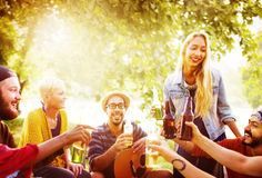 Friend Celebrate Party Picnic Joyful Lifestyle Drinking Concept Royalty Free Stock Images