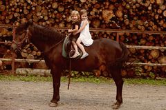 Friend, companion, friendship. Girls ride on horse on summer day. Equine therapy, recreation concept. Children smile in rider saddle on animal back. Sport royalty free stock image