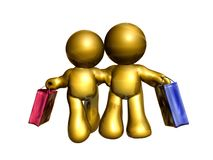 friend couple shopping. Friend icon couple on shopping Royalty Free Stock Photo