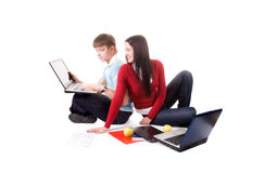 Friend are doing homework. (isolated on white stock photography