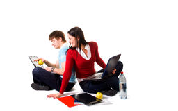 Friend are doing homework (isolated on white).  stock photos