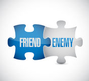 Friend and enemy puzzle pieces sign. Illustration design over white Stock Photo