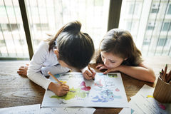 Friend Friends Friendship Girl Togetherness Concept. Friendship Girls Drawing Together Concept Stock Images