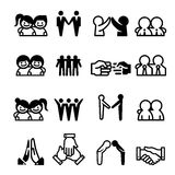 Friend Friendship Relationship Teammate Teamwork Icon set Royalty Free Stock Photos