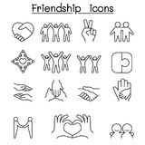 Friend & Harmony icon set in thin line style Royalty Free Stock Photos