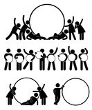Friend Holding Empty Banner. A set of pictogram representing a group of friend holding round empty banner Stock Images