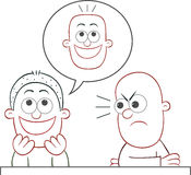Friend Joking He Has Flat Bald Head Royalty Free Stock Image