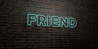 FRIEND -Realistic Neon Sign on Brick Wall background - 3D rendered royalty free stock image Stock Photo