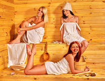 Friend relaxing in sauna Royalty Free Stock Images