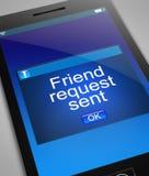 Friend request concept. Illustration depicting a phone with a friend request concept Stock Photo