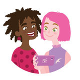 Friend is sharing video to a friend. Vector illustration of friendship in flat cartoon style. vector illustration