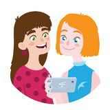 Friend is sharing video to a friend. Vector illustration. Friend is sharing video to a friend. Vector illustration of friendship in flat cartoon style. Two Stock Photography