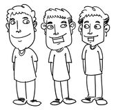 Friend. Sketch cartoon illustration of three friend smiling Stock Photography